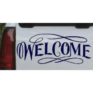 Welcome Swirls Business Car Window Wall Laptop Decal Sticker    Navy