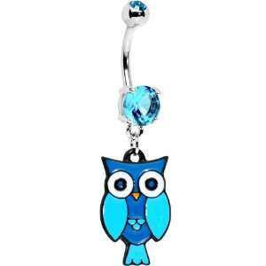 Aqua Double Gem Perched Owl Belly Ring Jewelry