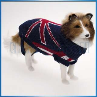 Pet Dog Puppy Turtleneck Sweater w/ UK Flag Union Jack Pattern Fashion