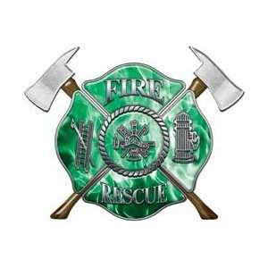 Firefighter Fire Rescue Firefighter Decal Inferno Green 12