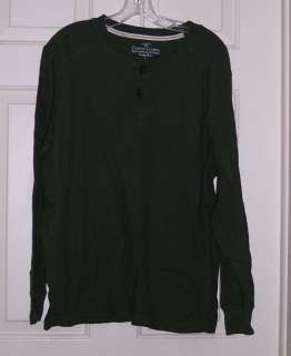 New Mens Blue or Green Thermal Henley Shirt Top S M L