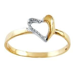 Right Hand Heart Ring 14k White Yellow Gold Fashion Band, Size