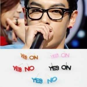 Big Bang K pop Bigbang T.O.P Style Colorful YES NO Earrings black/Pink