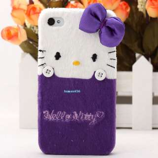 Hello Kitty Cute Lovely 3D BOW Fur hard skin cover case for iphone 4