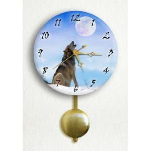 Gray Wolf Howling at the Moon 6 Pendulum Wall Clock