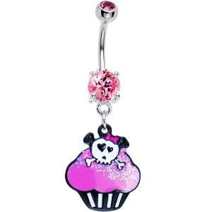 Pink Gem Skull Cupcake Belly Ring Jewelry