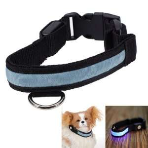 LED Flashing Safety Pet Dog Collar Blue Light   Size S