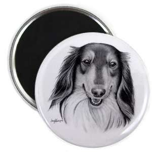 COLLIE Lassie DOG Pencil Sketch Art 2.25 Fridge Magnet