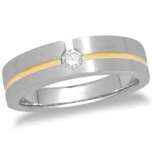 14k Two Tone Gold Mens Machine Set Diamond Band (.15 ct