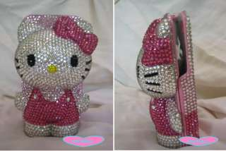 Iphone 4 4S 3GS bling crystal hello kitty Handmade 3D flip leather