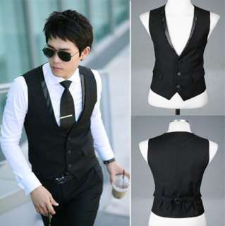 Mens Stylish Casual Business Slim Vests Waistcoat Black 3 Sizes free