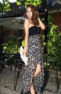 FANCYQUBE SEXY CHIFFON BUSTIER PARTY MAXI DRESS LEOPARD PATTERN