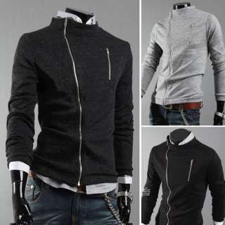 Mens Slim Fit Sexy Zips Top Designed Coat Jacket 3 color 3 size