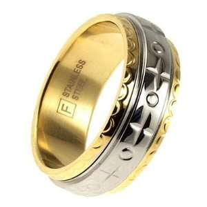 Two tone Engraved Spinning Stainless Steel Ring   11