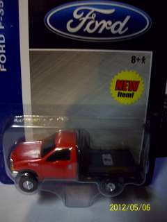 Ertl 1/64 red ford f 350 flatbed pickup truck dually 2 hitches