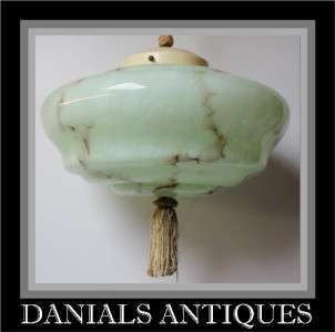 Antique Fantastic Art Deco green marble lamp.1920s