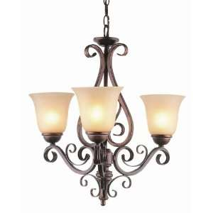 Trans Globe 3 Light Chandelier in Antique Brown Rust Finish   7793 ABR