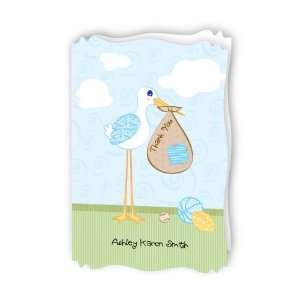 Stork Baby Boy   Personalized Baby Thank You Cards With