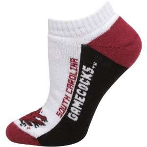 South Carolina Gamecocks Ladies White Color Block Ankle Socks