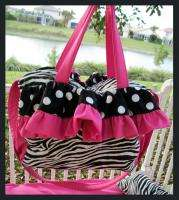 Custom DIAPER BAG ZEBRA BLACK DOTS HOT PINK fabrics