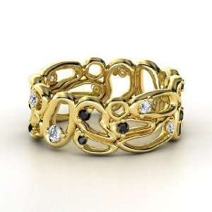 Desert Bloom Band, 14K Yellow Gold Ring with Diamond & Black Diamond