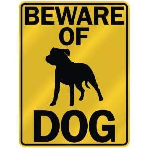 BEWARE OF  STAFFORDSHIRE BULL TERRIER  PARKING SIGN DOG