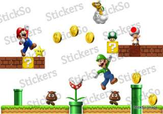 Super Mario Bros Scene REPOSITIONABLE WALL STICKER Nintendo wii MED to