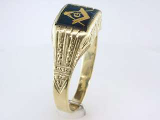 Antique Deco Sapphire Mens Masonic Yellow Gold Engagement Wedding Ring