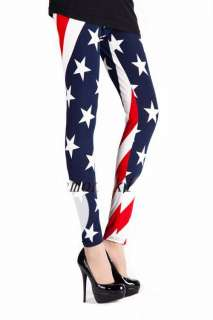 USA American Flag Tights Leggings Pants One Size