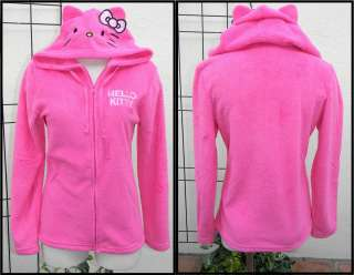 Hello Kitty Hot Pink Fleece Zipper Hoodie Jacket ONLY Size M NEW