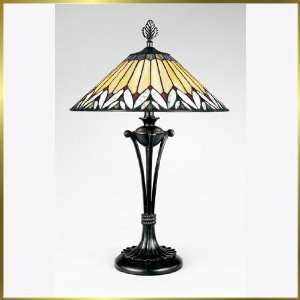Tiffany Table Lamp, QZTF6926VB, 2 lights, Antique Bronze, 17 wide X