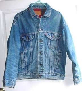 Levis Red Plaid Blanket Lined Denim Jacket Size Small USA Made