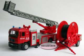 Binodal Fire Engine With Ladder Diecast Model Car With Box Red B488