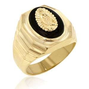 MENS 14K YELLOW GOLD w/ ONYX WIDE RING GUADALUPE DSGN