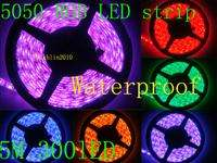 waterproof 5M 60led/M 5050 RGB SMD Flexible LED light Strip+44key IR