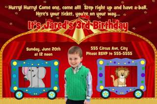 Circus Carnival Photo Birthday Party Invitations x 2