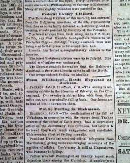CONFEDERATE BATTLE OF GETTYSBURG 63 Civil War Newspaper
