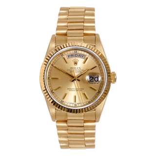 Original Rolex Mens 18K Yellow Gold President Day Date Champagne