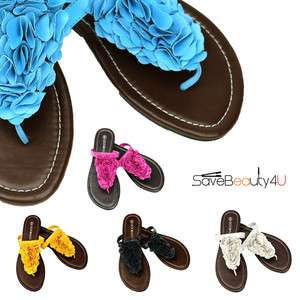 NEW Womens Flowers Flip Flops Thong Sandals Flat Shoes   DOOBALLO