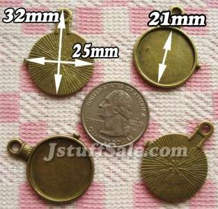 10 Cameo cabochon settings frame charms pocket watch clock shape 21mm