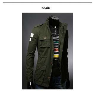 Mens Fashion Slim Fit Casual Trendy Vintage Military Style Safari