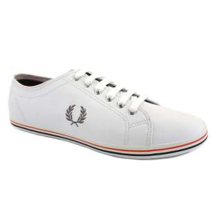 Fred Perry B9001 Kingston Mens Leather Laced Trainers White Red