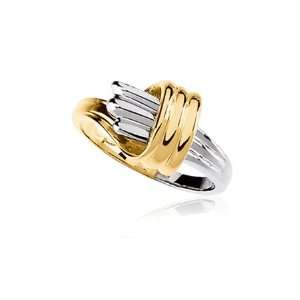 14 Karat Two Tone Gold Fluted Ring   Size 8 Jewelry