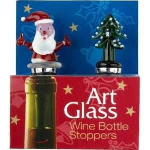 Santa & Christmas Tree Wine Bottle Stoppers set of two