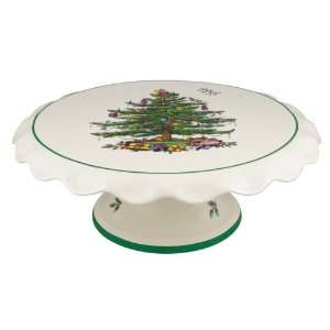 Spode Christmas Tree Footed Cake Stand 11 inch  Kitchen