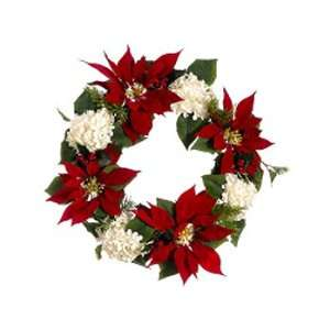 & White Hydrangea Holly Artificial Christmas Wreath