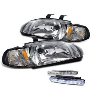 Door 2in1 JDM Chrome Head Lights+led Bumper Fog Lamps Pair Automotive