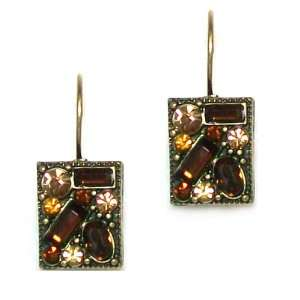 Designs Antique Brass Brown Crystal Collage Drop Earrings Jewelry