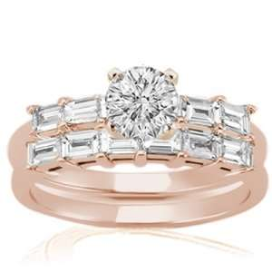 1.60 Ct Round Petite Diamond Engagement Weddings Rings Set