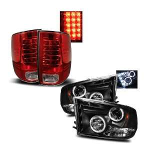 09 10 Dodge Ram 1500 Black LED Halo Projector Headlights